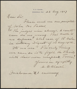 A. C. Clavel autograph note signed to Sacco-Vanzetti Defense Committee, Wauchula, Fla., 22 August 1927