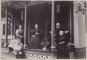 Photograph Album of the Newell Family of Newton, Massachusetts - Family on Porch, Onset Bay, Mass. -