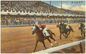 Through the stretch at Panoramic Hazel Park, the Friendly Track, Detroit's first modern race course.