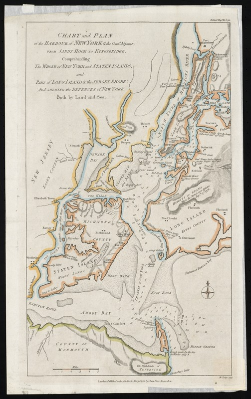 Chart and plan of the harbour of New York & the couny. adjacent, from Sandy Hook to Kingsbridge, comprehending the whole of New York and Staten Islands, and part of Long Island & the Jersey shore