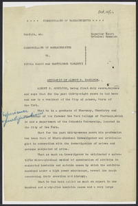Sacco-Vanzetti Case Records, 1920-1928. Defense Papers. Affidavit of Albert H. Hamilton (annotated), October 16, 1923. Box 16, Folder 4, Harvard Law School Library, Historical & Special Collections