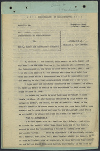 Sacco-Vanzetti Case Records, 1920-1928. Defense Papers. Affidavit of Charles J. van Amburgh, n.d. Box 16, Folder 32, Harvard Law School Library, Historical & Special Collections