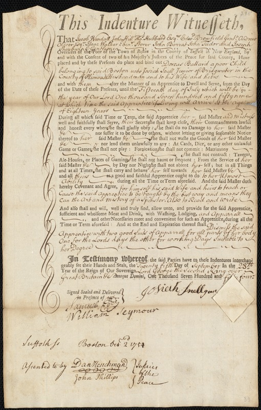 Document of indenture: Servant: Ballard, Dorcas. Master: Snell, Josiah Jr. Town of Master: Bridgewater. Selectmen of the town of Bridgewater autograph document signed to the Overseers of the Poor of the town of Boston: Endorsement Certificate for Josiah Snell.