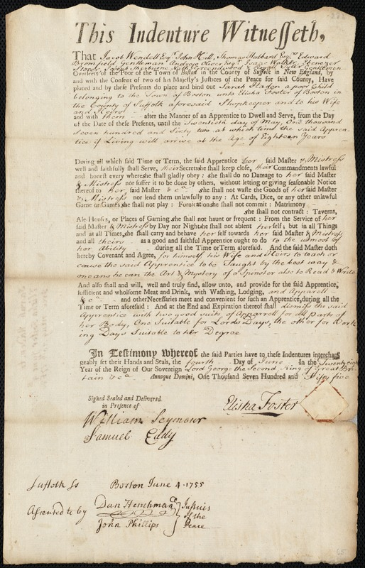 Document of indenture: Servant: Haden, Sarah. Master: Foster, Elisha. Town of Master: Boston