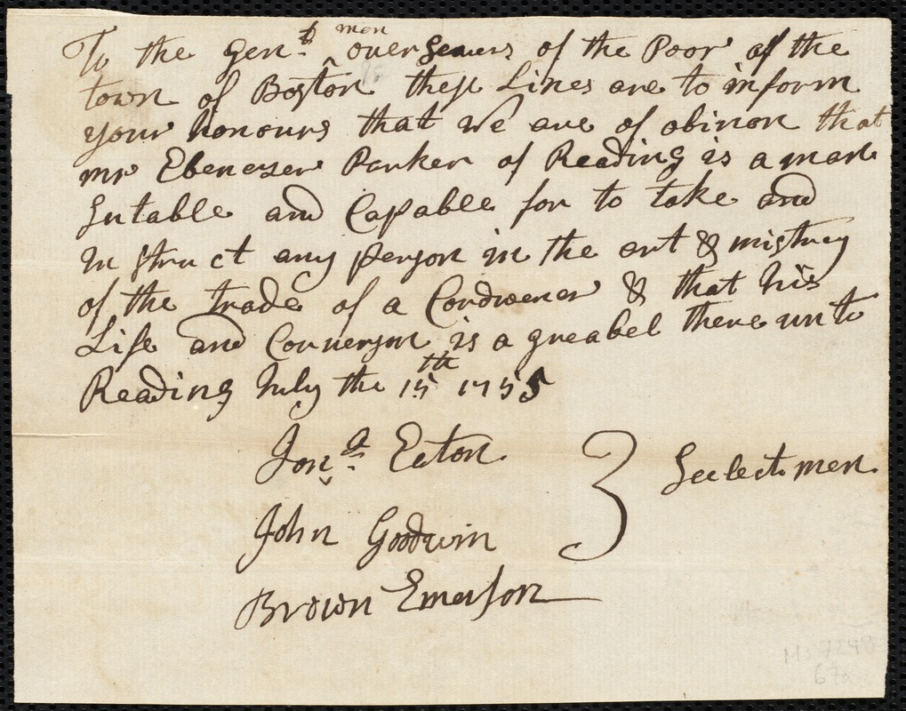 Document of indenture: Servant: Thomas, William. Master: Parker, Ebenezer. Town of Master: Reading. Selectmen of the town of Reading autograph document signed to the Overseers of the Poor of the town of Boston: Endorsement Certificate for Ebenezer Parker.