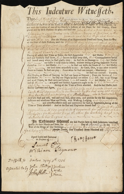 Document of indenture: Servant: Collis, John. Master: Bacon, Thomas. Town of Master: Bedford. Selectmen of the town of Bedford autograph document signed to Whom It May Concern: Endorsement Certificate for Thomas Bacon.