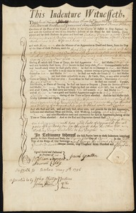 Document of indenture: Servant: Frazier, Anthony. Master: Yeatten [Yeaton], Jacob. Town of Master: Boston