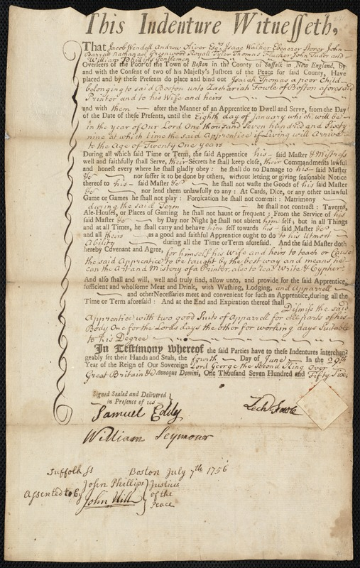 Document of indenture: Servant: Thomas, Isaiah. Master: Fowle, Zachariah. Town of Master: Boston
