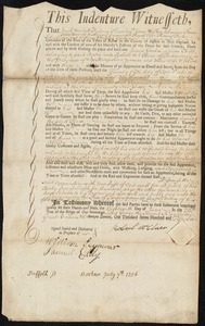 Document of indenture: Servant: Gordon, James. Master: McClure, Robert. Town of Master: Londonderry