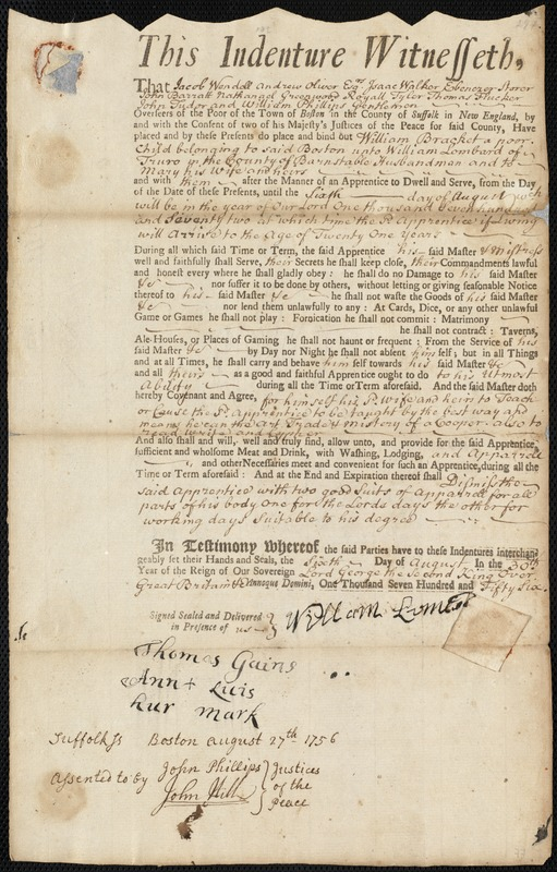 Document of indenture: Servant: Bracket, William. Master: Lombard, William. Town of Master: Truro. Selectmen of the town of Truro autograph document signed to the Overseers of the Poor of the town of Boston: Endorsement Certificate for William Lombard.