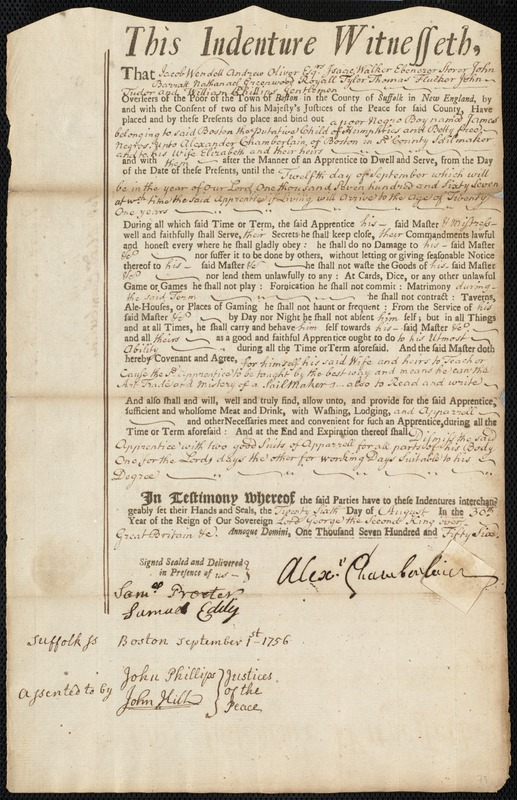 Document of indenture: Servant: Humphreys, James. Master: Chamberlain, Alexander. Town of Master: Boston
