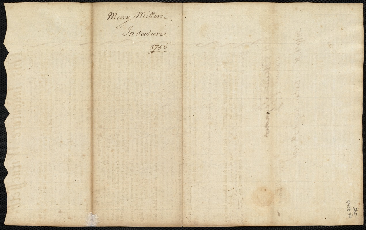 Document of indenture: Servant: Miller, Mary. Master: Hitchcock, Gad. Town of Master: Pembroke
