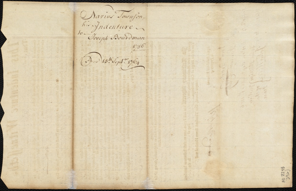 Document of indenture: Servant: Townson, Narius. Master: Boardman, Joseph. Town of Master: Boston