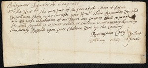 Document of indenture: Servant: Marchie, [Merchies] Robert. Master: Howard, Barnabas. Town of Master: Bridgewater. Selectmen of the town of Bridgewater autograph document signed to the Overseers of the Poor of the town of Boston: Endorsement Certificate for Barnabas Howard.