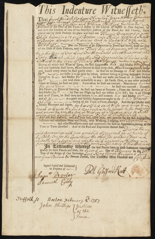 Document of indenture: Servant: Cummont, Francis. Master: Kast, Philip Godfrid. Town of Master: Boston