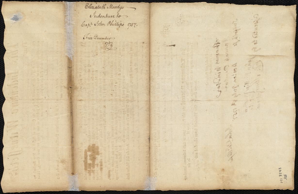 Document of indenture: Servant: Moody, Elizabeth. Master: Phillips, John. Town of Master: Charlestown. Selectmen of the town of Charlestown autograph document signed to the [Overseers of the Poor of the town of Boston]: Endorsement Certificate for John Phillips.
