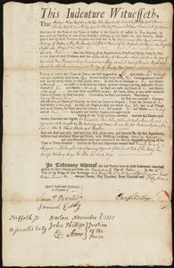 Document of indenture: Servant: Boyd, John. Master: Billings, Joseph. Town of Master: Boston