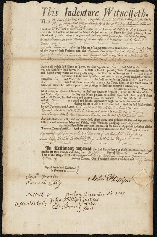 Document of indenture: Servant: Hill, Green. Master: Phillips, John. Town of Master: Boston