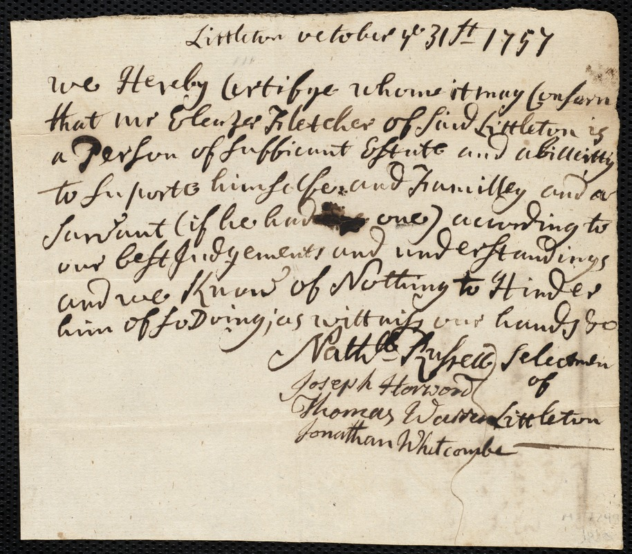 Document of indenture: Servant: Miller, Joseph. Master: Fletcher, Eleazer [Ebenezer]. Town of Master: Littleton. Selectmen of the town of Littelton autograph document signed to Whom It May Concern: Endorsement Certificate for Eleazer Fletcher.