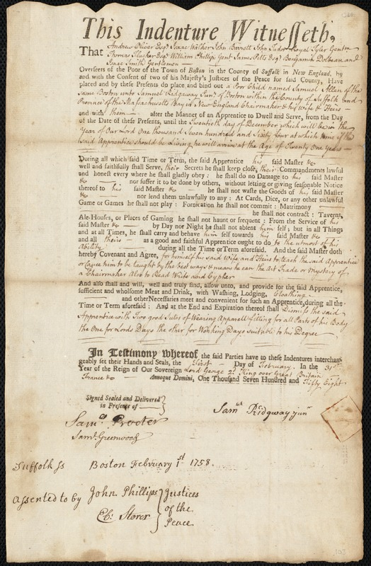 Document of indenture: Servant: Allen, Samuel. Master: Ridgway [Ridgaway], Samuel Jr. Town of Master: Boston