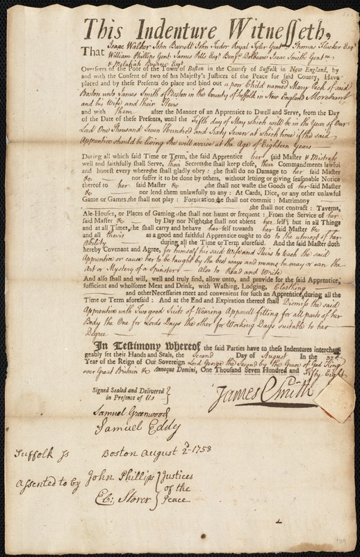 Document of indenture: Servant: Peck, Mary. Master: Smith, James. Town of Master: Boston