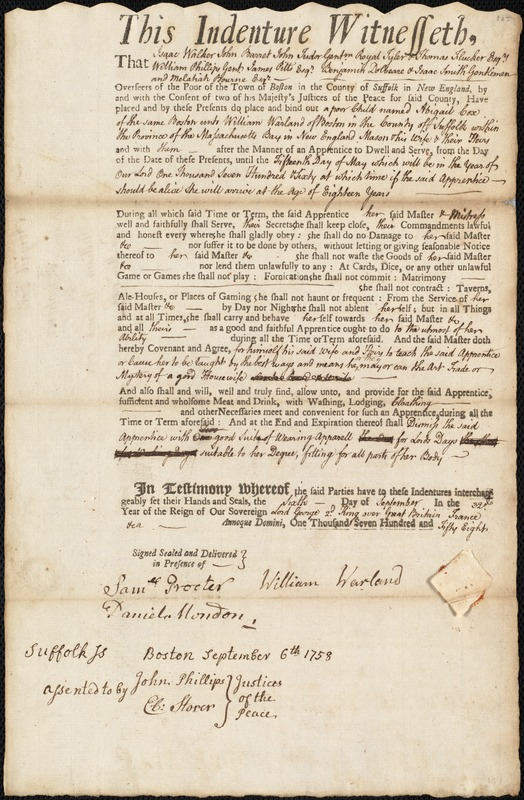 Document of indenture: Servant: Cox, Abigail. Master: Warland, William. Town of Master: Boston