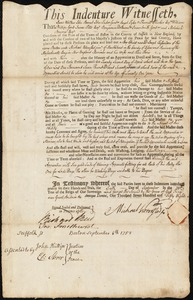 Document of indenture: Servant: Fessenden, Joseph. Master: Wormstead [Wormsted], Michael. Town of Master: Marblehead