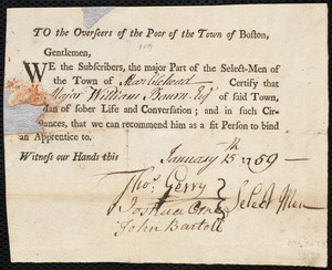 Document of indenture: Servant: Taylor, Charles. Master: Bourn, William. Town of Master: Marblehead. Selectmen of the town of Marblehead autograph document signed to the Overseers of the Poor of the town of Boston: Endorsement Certificate for William Bourn.