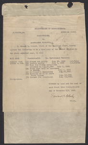 Sacco-Vanzetti Case Records, 1920-1928. Commonwealth v. Vanzetti (Bridgewater Trial). Indictment, Bill 8100: Assault with intent to rob, 1920. Box 1, Folder 3, Harvard Law School Library, Historical & Special Collections