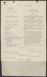 Sacco-Vanzetti Case Records, 1920-1928. Commonwealth v. Vanzetti (Bridgewater Trial). Complaint against Vanzetti by Michael E. Stewart, 1920. Box 1, Folder 7, Harvard Law School Library, Historical & Special Collections