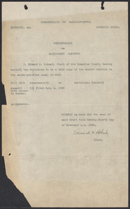 Sacco-Vanzetti Case Records, 1920-1928. Commonwealth v. Vanzetti (Bridgewater Trial). Docket Entries, 1920. Box 1, Folder 8, Harvard Law School Library, Historical & Special Collections