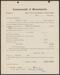 Sacco-Vanzetti Case Records, 1920-1928. Commonwealth v. Vanzetti (Bridgewater Trial). Bills for Services and Expenses to Deputy Sheriffs, 1920. Box 1, Folder 13, Harvard Law School Library, Historical & Special Collections