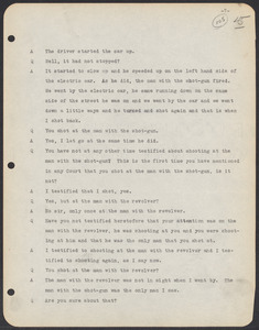 Sacco-Vanzetti Case Records, 1920-1928. Commonwealth v. Vanzetti (Bridgewater Trial). Trial Transcript, pages 45-99, 1920. Box 1, Folder 17, Harvard Law School Library, Historical & Special Collections