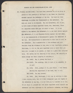 Sacco-Vanzetti Case Records, 1920-1928. Commonwealth v. Vanzetti (Bridgewater Trial). Trial Transcript, pages 1-30, 1920. Box 1, Folder 20, Harvard Law School Library, Historical & Special Collections
