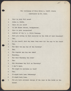 Sacco-Vanzetti Case Records, 1920-1928. Commonwealth v. Vanzetti (Bridgewater Trial). Trial Transcript, pages 61-90, 1920. Box 1, Folder 22, Harvard Law School Library, Historical & Special Collections