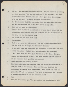 Sacco-Vanzetti Case Records, 1920-1928. Commonwealth v. Vanzetti (Bridgewater Trial). Trial Transcript, pages 91-120, 1920. Box 1, Folder 23, Harvard Law School Library, Historical & Special Collections