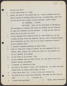 Sacco-Vanzetti Case Records, 1920-1928. Commonwealth v. Vanzetti (Bridgewater Trial). Trial Transcript, pages 121-150, 1920. Box 1, Folder 24, Harvard Law School Library, Historical & Special Collections