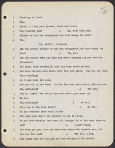 Sacco-Vanzetti Case Records, 1920-1928. Commonwealth v. Vanzetti (Bridgewater Trial). Trial Transcript, pages 151-180, 1920. Box 1, Folder 25, Harvard Law School Library, Historical & Special Collections