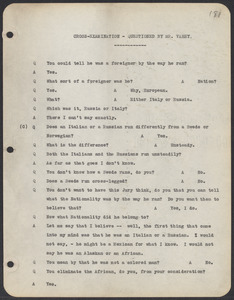 Sacco-Vanzetti Case Records, 1920-1928. Commonwealth v. Vanzetti (Bridgewater Trial). Trial Transcript, pages 181-214, 1920. Box 1, Folder 26, Harvard Law School Library, Historical & Special Collections