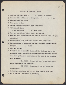 Sacco-Vanzetti Case Records, 1920-1928. Commonwealth v. Vanzetti (Bridgewater Trial). Trial Transcript, pages 215-243 , 1920. Box 1, Folder 27, Harvard Law School Library, Historical & Special Collections
