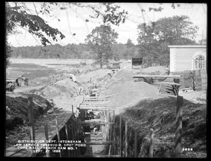 Distribution Department, Low Service Spot Pond Reservoir, trench for core wall, Dam No. 1, from the south, Stoneham, Mass., Sep. 27, 1899