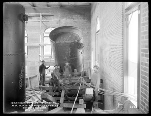Distribution Department, Northern High Service Spot Pond Pumping Station, setting boilers, from the west, Stoneham, Mass., Nov. 22, 1899