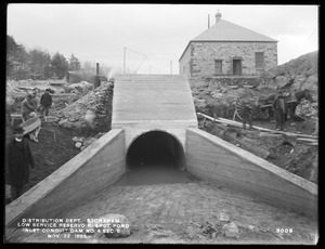 Distribution Department, Low Service Spot Pond Reservoir, inlet conduit, Dam No. 4, Section 6, from the north, Stoneham, Mass., Nov. 22, 1899