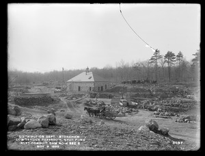 Distribution Department, Low Service Spot Pond Reservoir, north end of inlet conduit, Dam No. 4, Section 6, from the east, Stoneham, Mass., Nov. 9, 1899