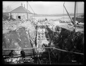 Distribution Department, Low Service Spot Pond Reservoir, inlet conduit, showing upper and lower inlets, Dam No. 4, Section 6, from the south, Stoneham, Mass., Nov. 9, 1899