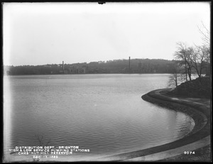 Distribution Department, Chestnut Hill Low Service and High Service Pumping Stations, from the north on north side of the reservoir, Brighton, Mass., Dec. 13, 1899