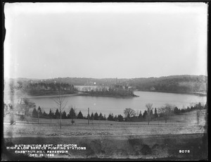 Distribution Department, Chestnut Hill Low Service and High Service Pumping Stations, from the northwest on hill, Brighton, Mass., Dec. 13, 1899