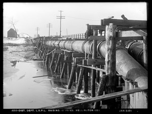 Distribution Department, Low Service Pipe Lines, raising 36-inch pipes, Wellington Bridge, Somerville, Mass., Jan. 2, 1903