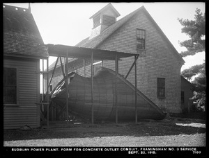 Sudbury Department, Sudbury Dam Hydroelectric Power Plant, form for concrete outlet conduit, Framingham Reservoir No. 3 service, Southborough, Mass., Sep. 22, 1915