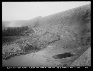 Sudbury Department, Sudbury Dam Hydroelectric Power Plant, outlet for Framingham Reservoir No. 3 service, Southborough, Mass., Nov. 2, 1915